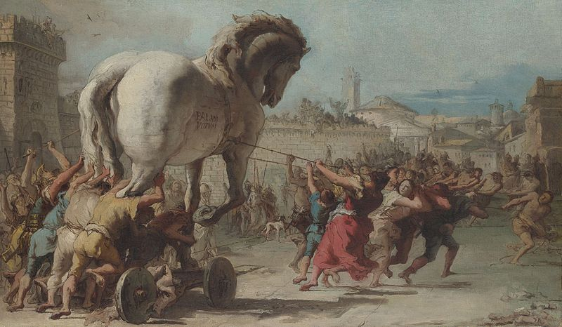 The Procession of the Trojan Horse in Troy. Painting: Giovanni Domenico Tiepolo, Public Domain